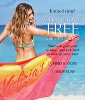 Акция на сайте Victoria's Secret получи полотенце в подарок!