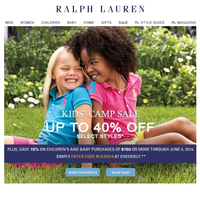 Ralph Lauren дополнительная скидка в размере 15% на скидочный товар в детской группе.