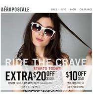 Скидки на сайте Aeropostale -20% от 100 долларов