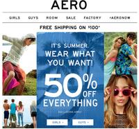 Скидки -30% на clearance сайт Aeropostale