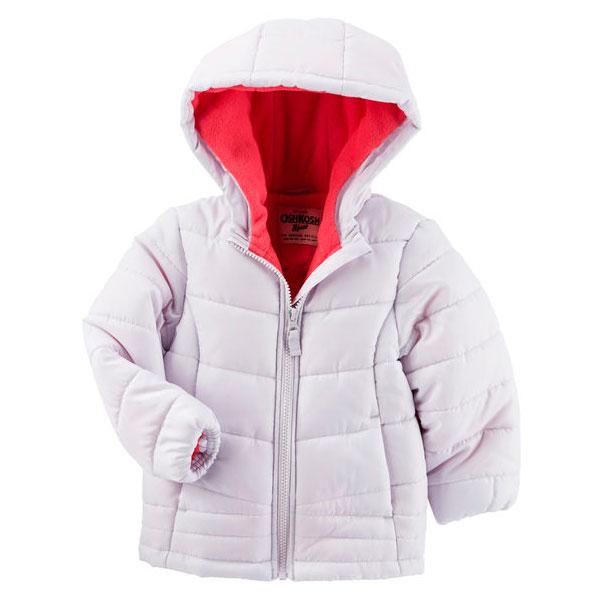 Стеганая детская куртка с капюшоном Oshkosh для девочки